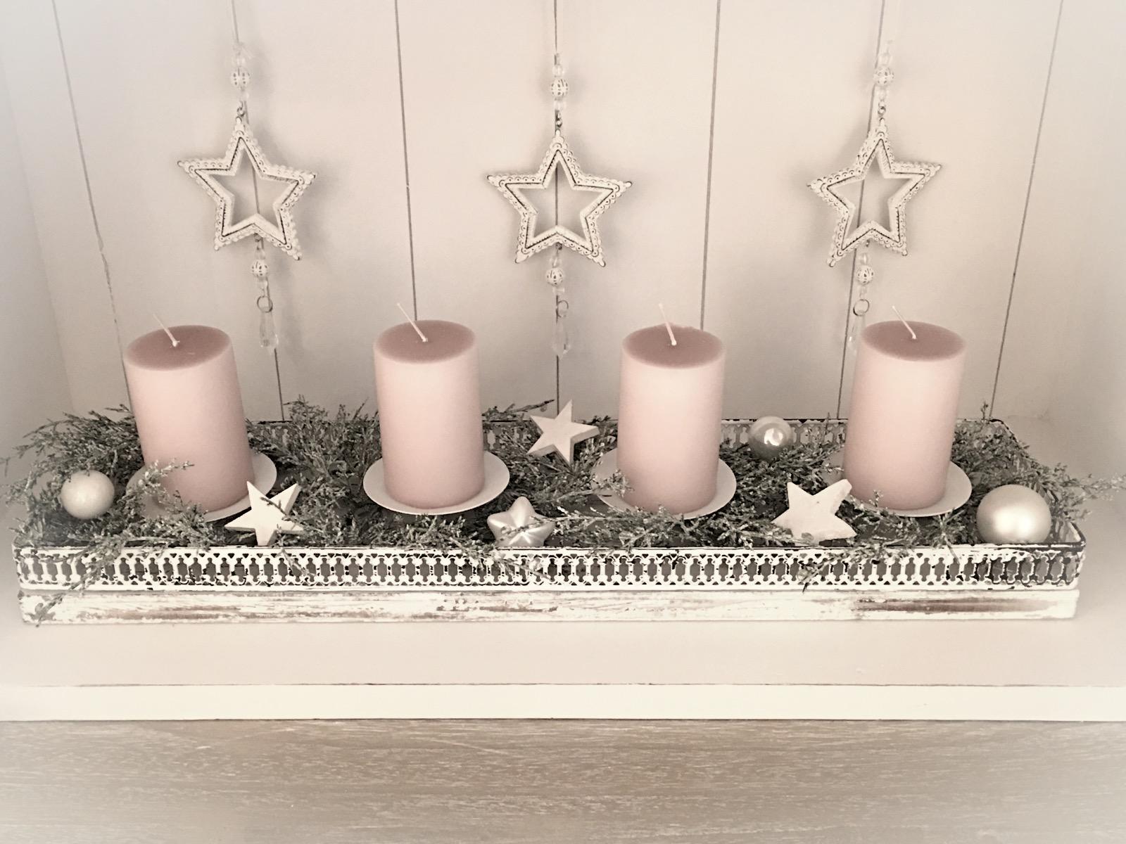 Tablett Mit 4 Kerzen Dekoriert 5939 Neu Aktuell Atelier Roosarot